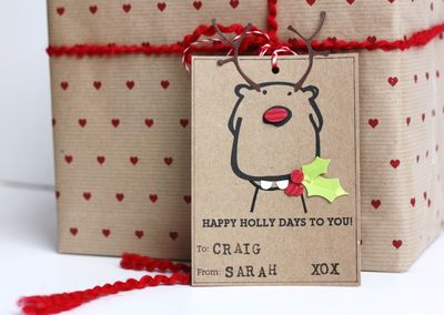 Happy Holly Days tag - small