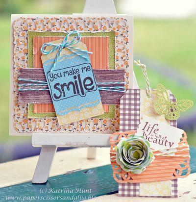 Card and Tag-Katrina Hunt-You Make Me Smile