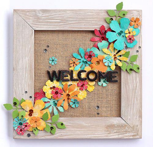 Welcome flower frame by Sarah Webb