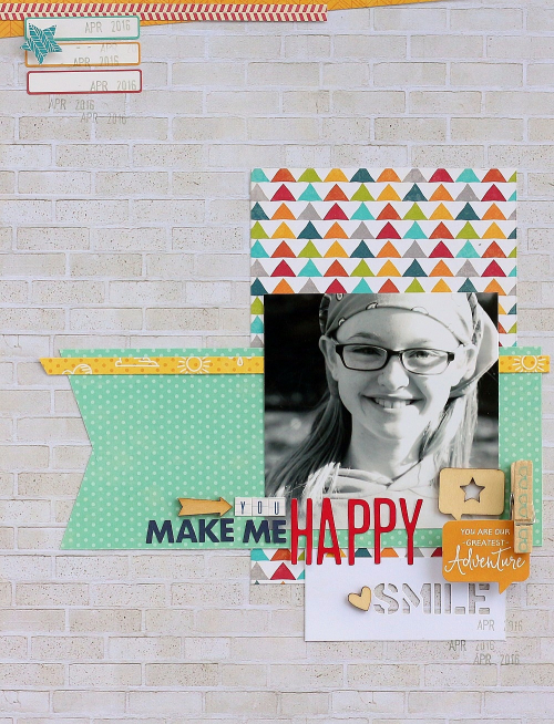 You make me Happy layout by Sarah Webb