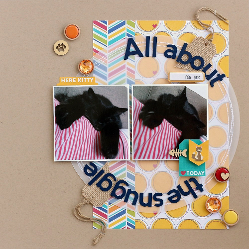 All about the snuggle  layout by Sarah Webb