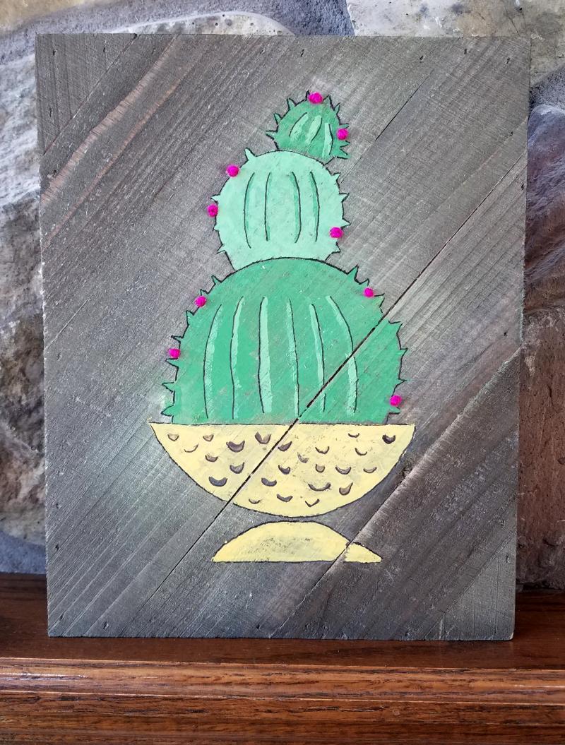 Jillibean Soup Jenifer Harkin Cactus Wall Plank