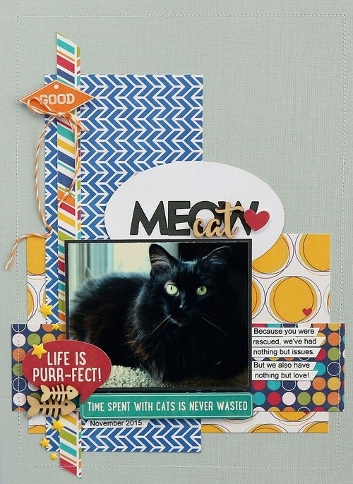 Meow cat layout by Sarah Webb