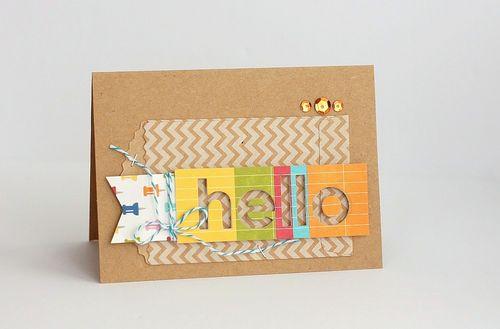 Hello rainbow negative card by Sarah Webb