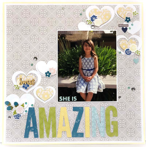 """""""Bohemian Brew"""" scrapbooking layout using letter die cuts, pea pod parts, and coordinating stickers.  Jillibean Soup scrapbooking layout.  How to create a title using letter die cuts. #letterdiecuts #JillibeanSoup #BohemianBrew #scrapbookinglayout"""