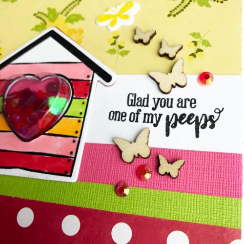 Shape Shaker card using Bohemian Brew, stamp and die set, seed beads and wood veneer.   Jillibean Soup scapbooking and cardmaking. #cardmaking #jillibeansoup #scrapbooker #bohemianbrew #shapeshaker