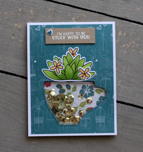 Shape Shaker Card using Bohemian Brew and Clear Stamp and Die Sets.  Jillibean Soup card making.  How to make a shape shaker card.  #shapeshakers #cardmaking #stamping #bohemianbrew #jillibeansoup