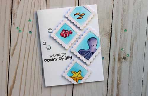 Octopus Shaker Stamp Die Set Card.  Jillibean Soup cardmaking.  How to use a stamp and die set.  #stamping #jillibeansoup #stampanddieset #scrapbooker