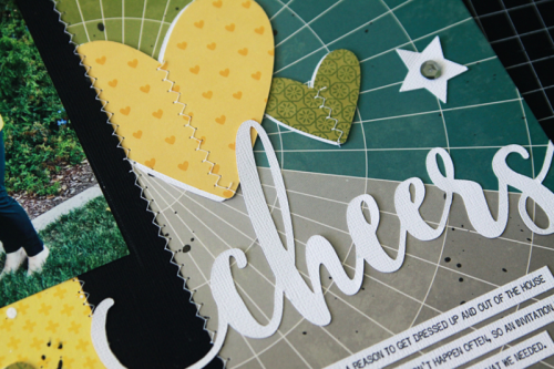 """""""Shades of Color Soup"""" scrapbooking layout using cut files, pea pod parts, coordinating stickers and puffy stickers.  Jillibean Soup scrapbooking layout.  How to create a layout using cut files.  #cutfiles #jillibeansoup #scrapbooking #shadesofcolorsoup #peapodparts"""