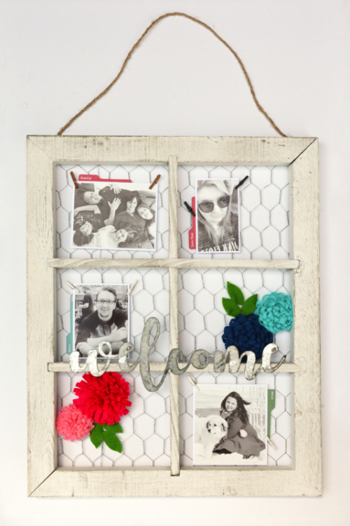 Window frame using galvanized words and felt flowers.  Jillibean Soup home decor.  How to create a DIY project.  #diy #jillibeansoup #windowframe #galvanizedwords #mixthemedia