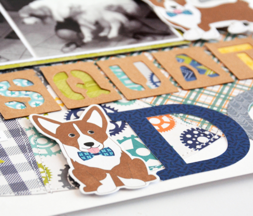 2 Cool For School Scrapbooking Layout using Pea Pod Parts, Letter Die Cuts, Puffy Stickers, and Coordinating Stickers.  Jillibean Soup scrapbooking layout.  How to scrapbook your pet photos.  #jillibeansoup #scrapbooker #cutfile #2CoolForSchool #petphotos
