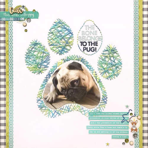 2 Cool For School Scrapbooking Layout using Puffy Stickers, Coordinating Stickers, Wood Veneer, and Shaped Paper Clips.  Jillibean Soup scrapbooking layout.  How to scrapbook your pet photos.  #jillibeansoup #scrapbooker #cutfile #2CoolForSchool #petphotos