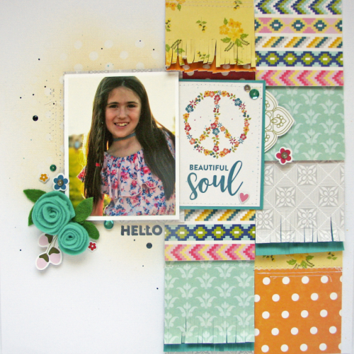 """Bohemian Brew"" scrapbooking layout using pea pod parts and felt flowers.  Jillibean Soup scrapbooking layout.  How to create a scrapbook layout with felt flowers.#bohemianbrew #scrapbooker #jillibeansoup #peapodparts #feltflowers #mixthemedia"