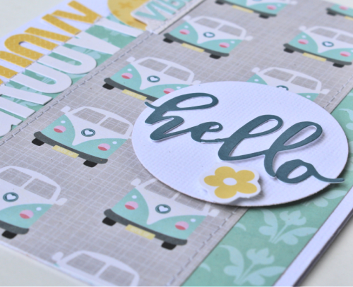 """Bohemian Brew' card using patterned paper and pea pod parts.  Jillibean Soup cardmaking.  How to create a card using Bohemian Brew.  #jillibeansoup #cardmaking #scrapbooking #bohemianbrew"