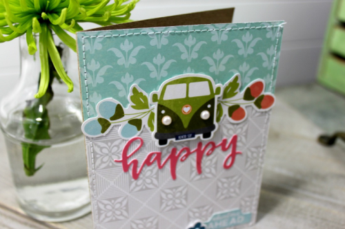 """Bohemian Brew' card using patterned paper, soup labels, and pea pod parts.  Jillibean Soup cardmaking.  How to create a card using Bohemian Brew.  #jillibeansoup #cardmaking #scrapbooking #bohemianbrew"