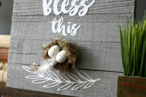 Wooden plank sign using silhouette cut files.  Jillibean Soup home decor.  How to create a DIY project.  #diy #jillibeansoup #woodplank #cutfile #mixthemedia