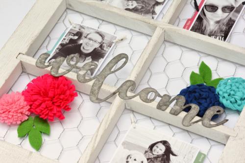 Window frame using galvanized words and felt flowers.  Jillibean Soup home decor.  How to create a DIY project.  #diy #jillibeansoup #windowframe #galvanizedwords #mixthemedia