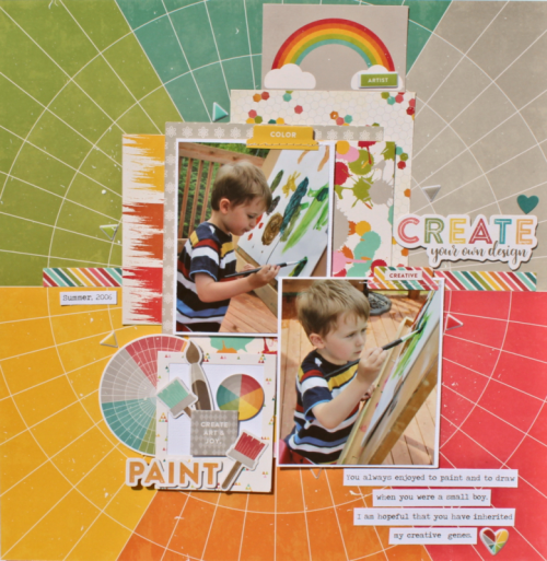 """""""Shades of Color Soup"""" scrapbooking layout using pea pod parts, coordinating stickers and puffy stickers.  Jillibean Soup scrapbooking layout.  How to create a layout using ebellishments.  #puffystickers #coordinatingstickers #jillbeansoup #scrapbooking #shadesofcolorsoup #peapodparts"""
