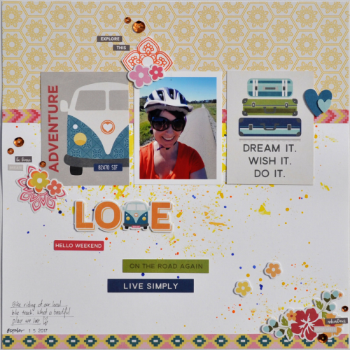 """Bohemian Brew"" scrapbooking layout using stamps and pea pod parts.  Jillibean Soup scrapbooking layout.  How to stamp on a scrapbooking layout.  #stamping #jillibeansoup #scrapbooker #bohemianbrew #peapodparts"