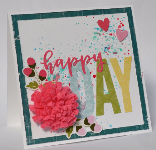 """Bohemian Brew"" cardmaking using felt flowers and letter die cuts.  Jillibean Soup cardmaking.  How to use felt flowers on a card.  #feltflowers #jillibeansoup #cardmaking #bohemianbrew #letterdiecuts"