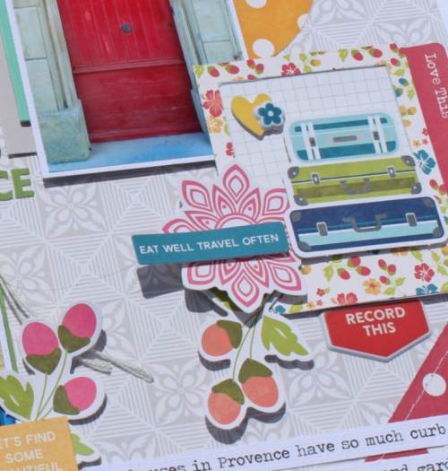 """Bohemian Brew"" scrapbooking layout using pea pod parts, puffy stickers, and alphabeans .  Jillibean Soup scrapbooking layout.  How to create a scrapbook layout using paper scraps.  #jillibeansoup #scrapbooker #alphabeans #peapodparts"