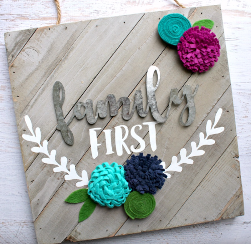 """Wood Plank Sign using galvanized words, felt flowers, and a cut file.  How to create a """"Jillibean Soup Mix the Media"""" sign.  #mixthemedia #jillibeansoup #feltflowers #galvanizedwords #woodplank"""