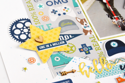 """2 Cool For School"" scrapbooking layout using pea pod parts, coorinating stickers, soup labels, wood veneers, and puffy stickers.  Jillibean Soup scrapbooking layout.  How to use embellishments on a layout.  #jillibeansoup #scrapbooker #2coolforschool  #peapodparts #puffystickers"
