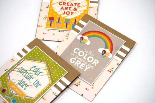 """Shades of Color Soup"" cards using journaling cards and sequins.  Jillibean Soup card making.  How to create a card using journaling cards.  #jillibeansoup #shadesofcolorsoup #journalingcards #cardmaking"