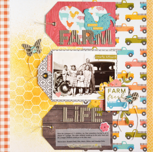 """Farmhouse Stew"" scrapbooking layout using pea pod parts, coordinating stickers, puffy stickers, corrugated alphas and cut file designs.  Jillibean Soup scrapbooking layout.  How to use a cutfile on a scrapbooking layout.  #scrapbooker #jillibeansoup #farmhousestew #cutfile #corrugatedalphas"