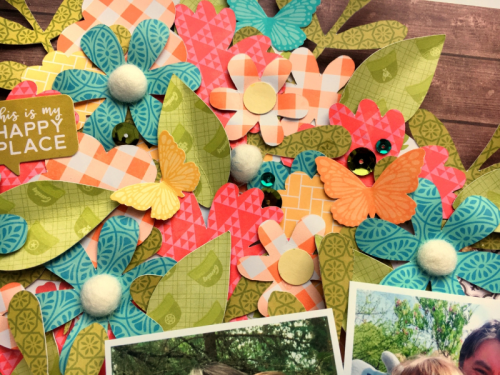 """""""Farmhouse Stew"""" scrapbooking layout using soup label stickers, banner tags, and cut file designs.  Jillibean Soup scrapbooking layout.  How to use a cutfile on a scrapbooking layout.  #scrapbooker #jillibeansoup #farmhousestew #cutfile #bannertags #souplabels"""