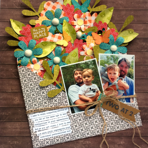 """Farmhouse Stew"" scrapbooking layout using soup label stickers, banner tags, and cut file designs.  Jillibean Soup scrapbooking layout.  How to use a cutfile on a scrapbooking layout.  #scrapbooker #jillibeansoup #farmhousestew #cutfile #bannertags #souplabels"