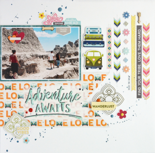 """Bohemian Brew"" scrapbooking layout using pea pod parts, coordinating stickers, puffy stickers, and digital cut files.  Jillibean Soup scrapbooking layout.  How to use a cut file on a scrapbooking layout.  #cutfile #jillibeansoup #scrapbooker #bohemianbrew"