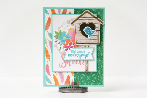 """""""Bowl ofo Dreams"""" card using patterned paper and the stamp and die set.  How to stamp on a card.  Jillibean Soup.  #stamping #jillibeansoup #cardmaking #bowlofdreams #stampanddieset"""
