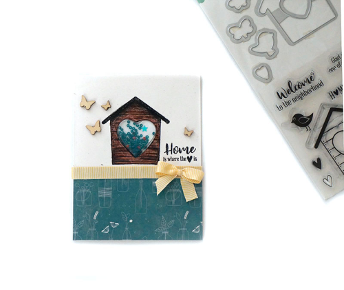Shape Shaker Card using Bohemian Brew, shaker fillers, shaker wood veneers, and the stamp and die set.  How to make a shape shaker card.  Jillibean Soup.  #shapeshaker #jillibeansoup #cardmaking #bohemianbrew #stampanddieset