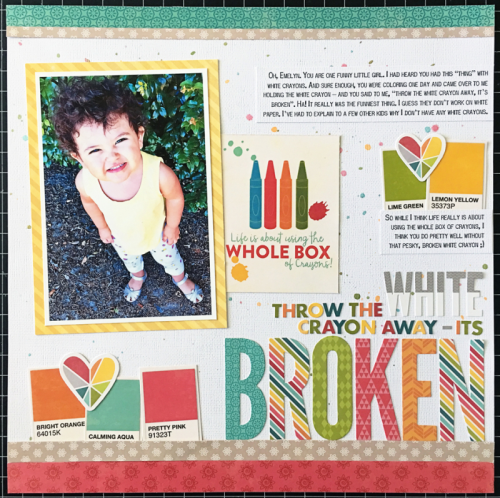 """""""Shades of Color Soup"""" scrapbooking layout using patterned paper, pea pod parts, coordinating stickers, and letter die cuts.  Jillibean Soup scrapbook layout.  How to create a layout with Shades of Color Soup.  #jillibeansoup #scrapbooker #shadesofcolorsoup #peapodparts #letterdiecuts"""