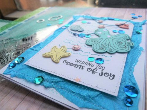 """Octopus"" card using stamp and die set and sequins.  How to stamp on a card.  Jillibean Soup cardmaking.  #jillibeansoup #cardmaking #stampanddieset #sequins #octopus"