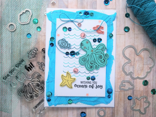 """""""Octopus"""" card using stamp and die set and sequins.  How to stamp on a card.  Jillibean Soup cardmaking.  #jillibeansoup #cardmaking #stampanddieset #sequins #octopus"""
