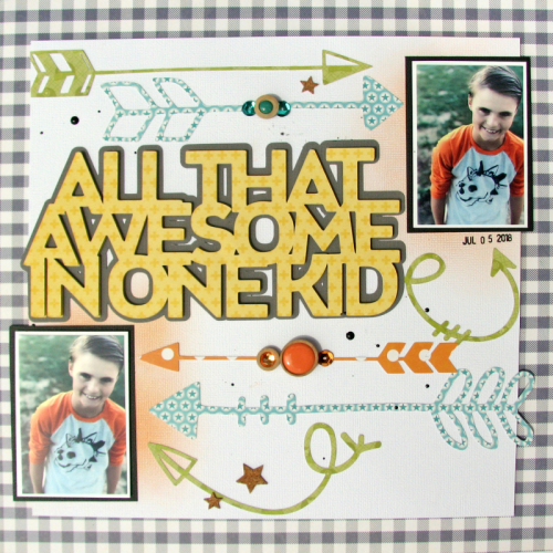 """""""2 Cool For School"""" scrapbook layout using patterned paper, adhesive sequins, cut file, and wood sprinkles.  How to create a scrapbook page with a cut file.  Jillibean Soup scrapbooker.  #jillibeansoup #scrapbooker #2coolforschool #cutfile #adhesivesequins"""