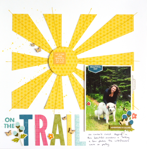 """""""Bohemian Brew"""" scrapbook layout using patterned paper from Bohemian Brew and 2 Cool For School, coordinating stickers, puffy stickers, letter die cuts, shaker wood veneers, and a cut file.  How to create a scrapbook layout with a cut file. Jillibean Soup scrapbooker.  #jillibeansoup #scrapbooker #bohemianbrew #2coolforschool #cutfile"""