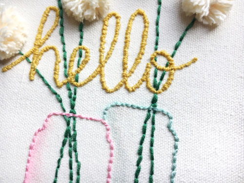 DIY Home Decor Project using the Hello Embroidery Hoop and the Jar Goodness stamp.  How to create a DIY home decor piece.  Jillibean Soup Mix the Media.  #jillibeansoup #DIY #mixthemedia #embroideryhoop #homedecor