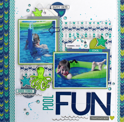 Scrapbook layout using 2 Cool For school, octopus stamp and die set, and Day2Day shaped paper clips.  Jillibean Soup scrapbooker.  #jillibeansoup #scrapbooker #2coolforschool #stampanddieset #octopus #day2day