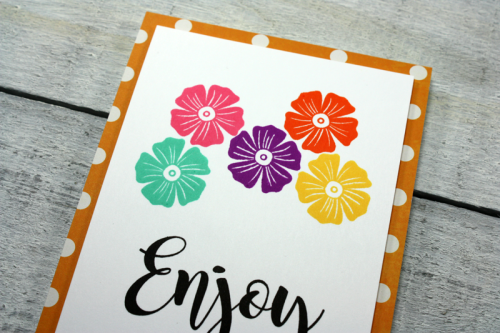 Stamped card using Bohemian Brew and clear stamps.  How to stamp on a card.  Jillibean Soup cardmaking.  #jillibeansoup #cardmaking #bohemianbrew #stamp #bowlofdreams #enjoy