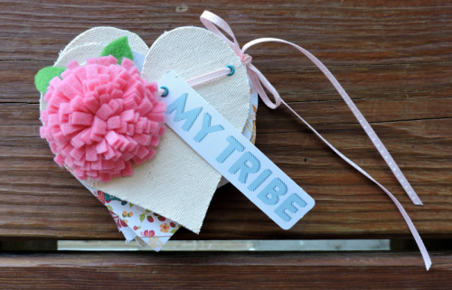 Mix the Media Mini Album using the Bohemian Brew collection, felt flowers, and the stitched heart canvas banner.  How to make a mini album.  #jillibeansoup #minialbum #bohemianbrew #feltflower