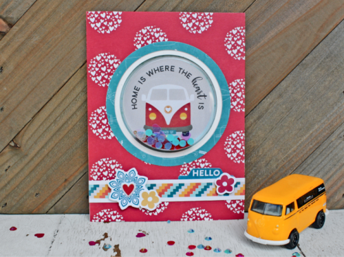 Shape Shaker card using Bohemian Brew patterned paper, pea pod parts, puffy stcikers, and shaker fillers.  How to create a shaker card.  #jillibeansoup #cardmaking #shapeshaker #bohemianbrew #shakerfillers