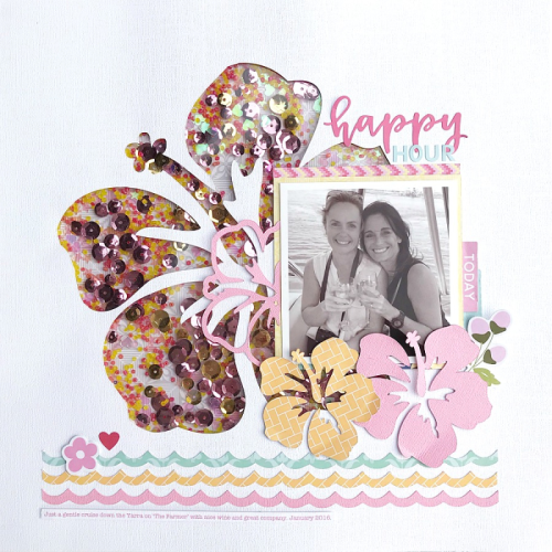 Scrapbook layout using a cut file, the Bohemian Brew collection, and shape shaker fillers.  How to create a scrapbook layout with a cut file.  Jillibean Soup scrapbook layout.  #jillibeansoup #scrapbooklayout #cutfile #bohemianbrew #shapeshakerfillers