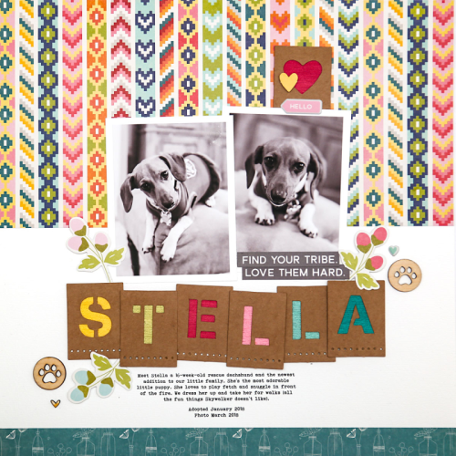 Scrapbook layout using Bohemian Brew, pea pod parts, puffy stickers, coordinating stickers, wood veneer, and alpha tiles.  How to use alpha tiles on a scrapbook layout.  Jillibean Soup scrapbooker.  #jillibeansoup #scrapbooker #bohemianbrew #peapodparts #woodveneer #alphatiles