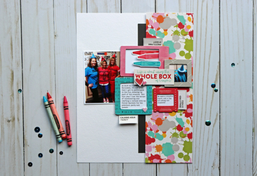 Scrapbook layout using patterned paper, pea pod parts, and puffy stickers.  How to create a scrapbook layout with patterned papers.  Jillibean Soup scrapbooker.  #jillibeansoup #scrapbooker #layout #patternedpaper #peapodparts #puffystickers