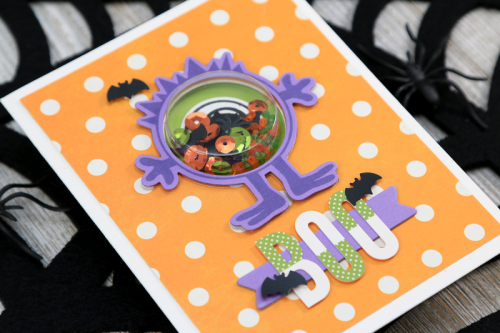 Shape Shaker card using small circle shape shaker insert and die, shaker fillers, bohemian brew, alphabeans, and stamp and die set.  How to make a shape shaker card.  Jillibean Soup cardmaking.  #jillibeansoup #cardmaking #shapeshaker #stampanddieset #bohemianbrew