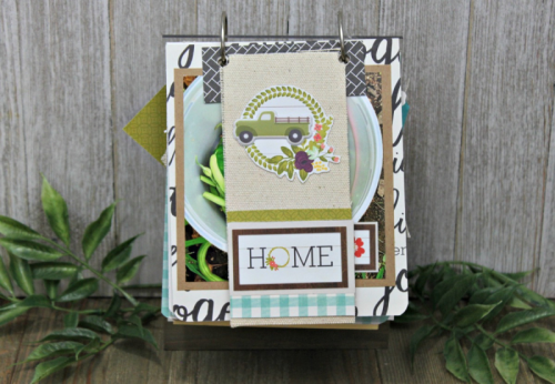 Mini Album using acrylic wood stand, Garden Harvest, puffy stickers, soup labels, and mini alphas.  How to create a mini album from mix the media acrylic wood stand.  Jillibean Soup diy.  #jillibeansoup #mixthemedia #diy #woodacrylicstand #gardenharvest