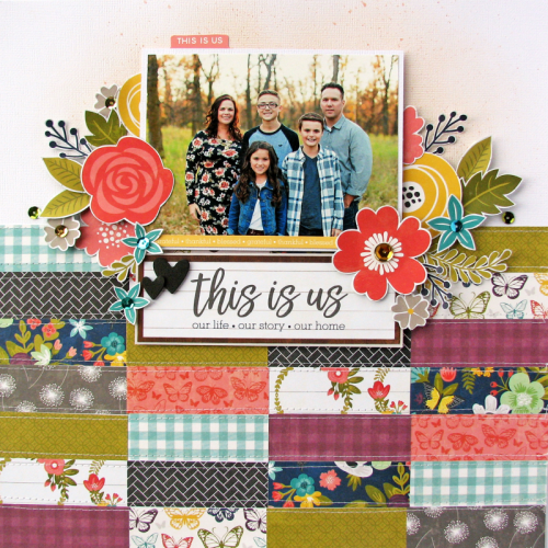 Scrapbook layout using Garden Harvest and adhesive sequins.  How to create a scrapbook layout with patterned paper.  Jillibean Soup scrapbooker.  #jillibeansoup #scrapbooker #layout #gardenharvest #adhesivesequins